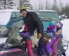 Snowmobile with Rob, 3 children and 2 dogs